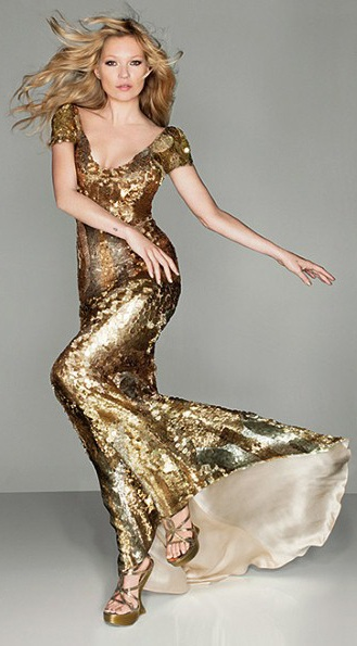 K. Moss in gold McQueen - British Vogue shoot - Olympic Closing Ceremony. 2012